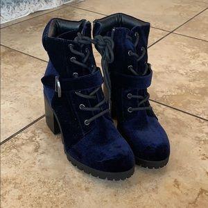 Women's navy blue combat boots